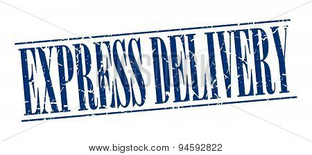 Express Delivery Blue Grunge Vintage Stamp Isolated On White Background