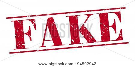 Fake Red Grunge Vintage Stamp Isolated On White Background