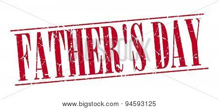 Father's Day Red Grunge Vintage Stamp Isolated On White Background