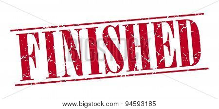 Finished Red Grunge Vintage Stamp Isolated On White Background