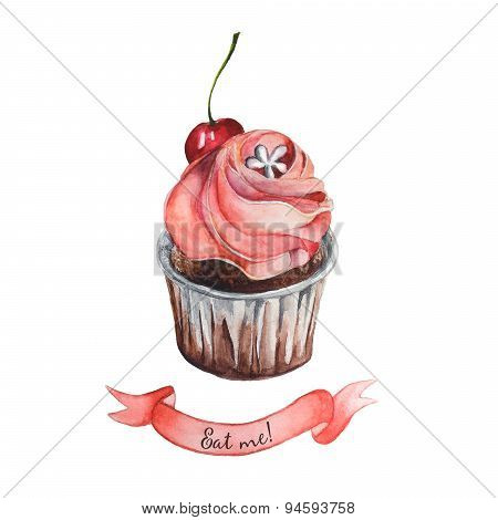 Watercolor decorative cupcake with ribbon