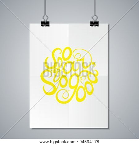 Poster Mockup Template with Lettering Element