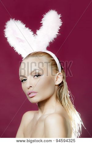 Sensual Blonde With Bunny Ears