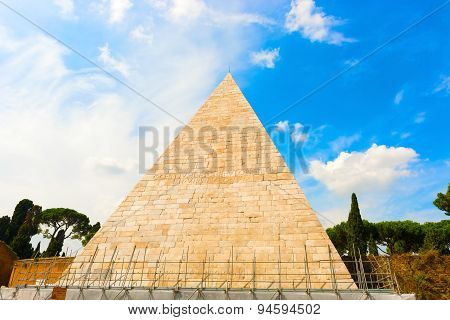 The Pyramid Of Cestius In Rome, Italy