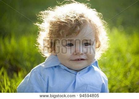 Baby Boy On Fresh Grass