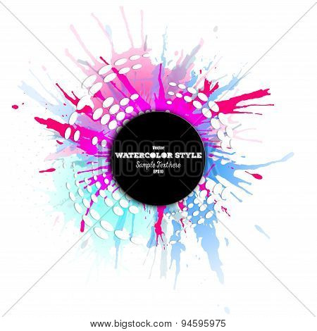 Abstract circle black banner with place for text and watercolor stains. Colorful background, busines