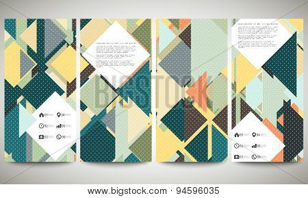 Abstract banners collection, flyer layouts. Colored backgrounds with place for text, triangle design
