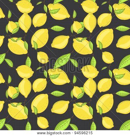 Green Lemon Fruits With Leaf On Branch Dark Black Background. Citrus Seamless Vector Pattern.