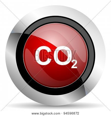 carbon dioxide red glossy web icon original modern design for web and mobile app on white background