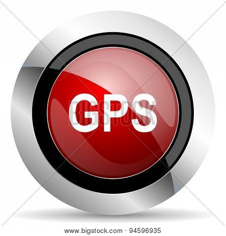 gps red glossy web icon original modern design for web and mobile app on white background