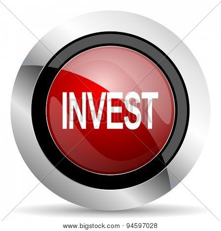 invest red glossy web icon original modern design for web and mobile app on white background