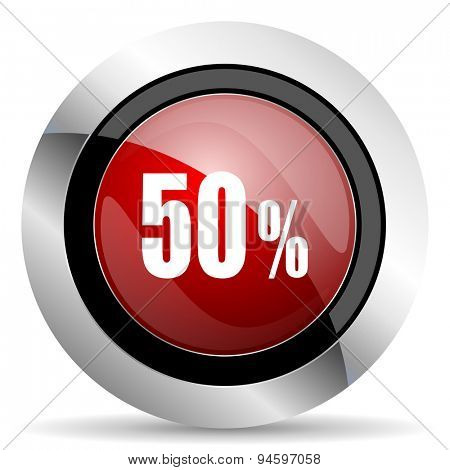 50 percent red glossy web icon original modern design for web and mobile app on white background