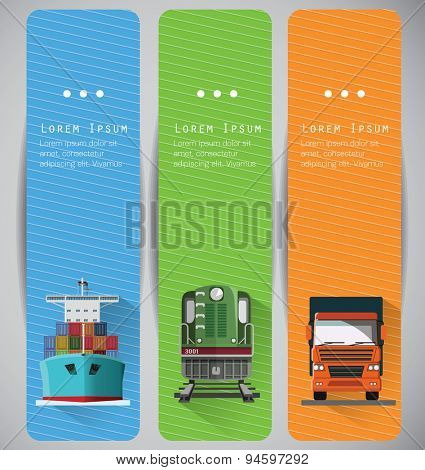 Transportation banners with long shadow flat images. Front View, Vector.