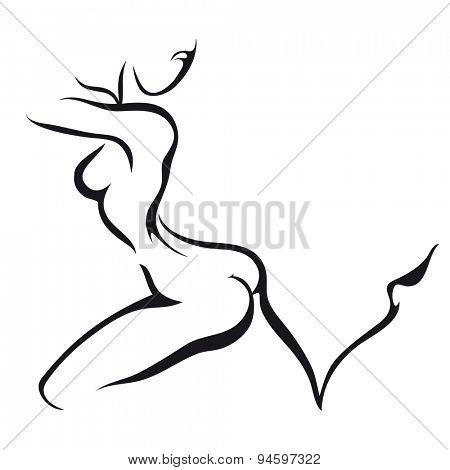 Ink style sketch Dancing woman