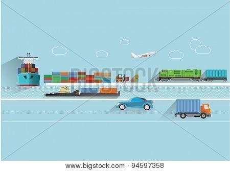 World transportation flat style  concept vector illustration.
