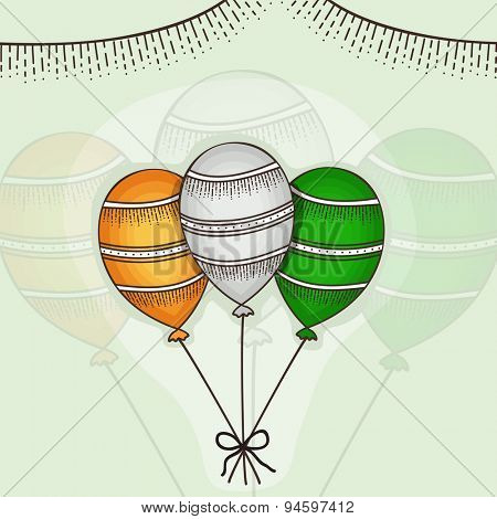 Happy Independence Day cleebration with Indian national tricolor balloons on stylish background.
