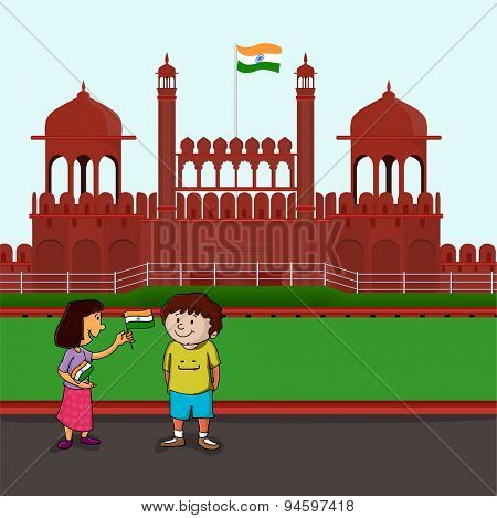 Cute little happy kids holding Indian national flag and celebrating Happy Independence Day on historical monument red fort background.