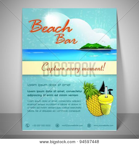 Nature view banner for beach bar with address bar and mailer.