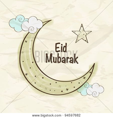 Elegant greeting card design with crescent moon and star on clouds for holy festival of Muslim community, Eid celebration.