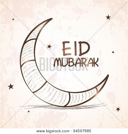 Elegant greeting card design with shiny crescent moon on stars decorated grungy background for Islamic famous festival, Eid celebration.