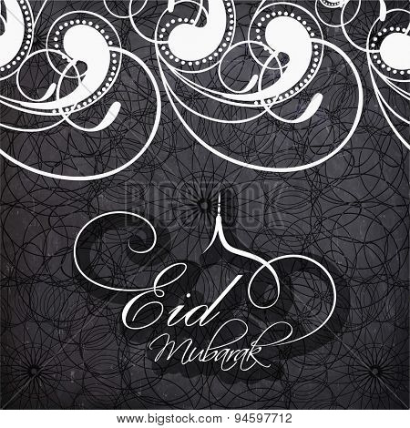 Beautiful floral design decorated greeting card for famous festival of Muslim community, Eid celebration.