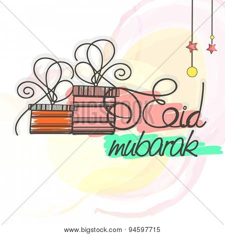 Elegant greeting card design with gifts and hanging stars on stylish background for Islamic holy festival, Eid Mubarak celebration.