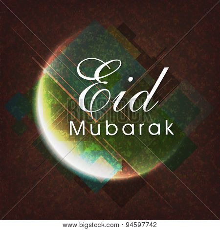Elegant greeting card design with shiny crescent moon on grungy background for Muslim community festival, Eid Mubarak celebration.
