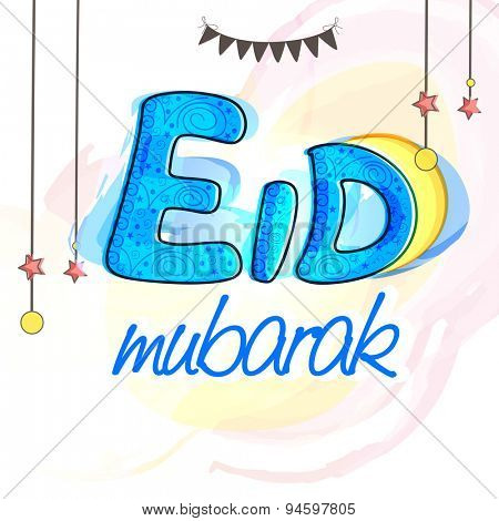 Elegant greeting card with floral design decorated text Eid Mubarak and hanging stars on stylish background for Muslim community festival celebration.
