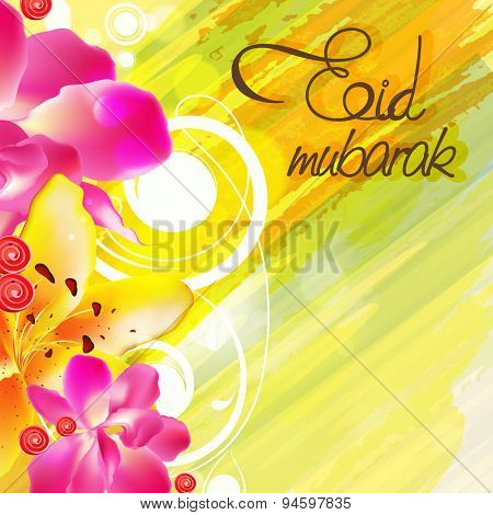 Beautiful greeting card decorated with shiny flowers on stylish background for famous festival of Muslim community, Eid celebration.