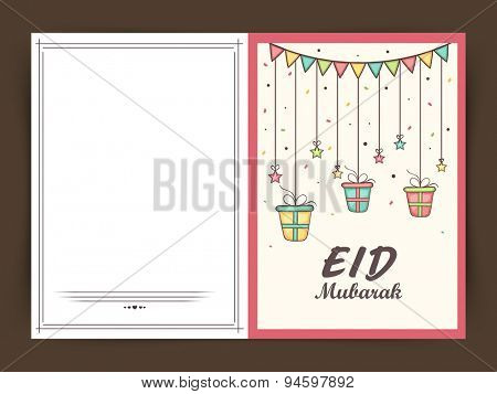 Stylish greeting card design with hanging colorful gifts and stars for muslim community festival, Eid Mubarak celebration.