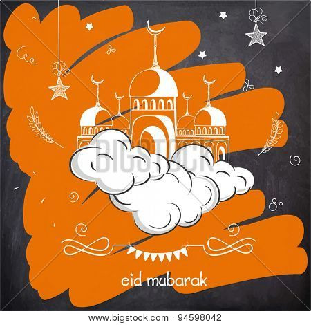 Elegant greeting card design with mosque on clouds for famous Islamic festival, Eid Mubarak celebration.