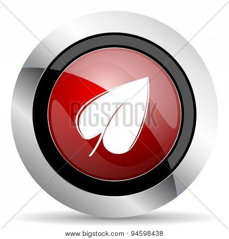 leaf red glossy web icon original modern design for web and mobile app on white background