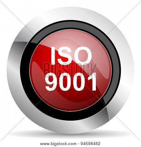 iso 9001 red glossy web icon original modern design for web and mobile app on white background