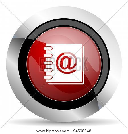 address book red glossy web icon original modern design for web and mobile app on white background