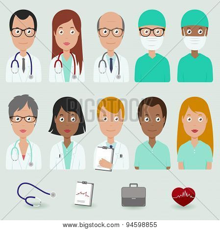 Medical staff people icons