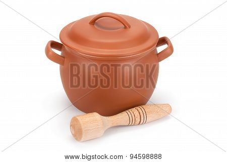 Clay Pot, Wooden Utensils