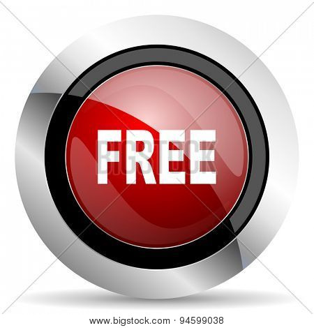 free red glossy web icon original modern design for web and mobile app on white background