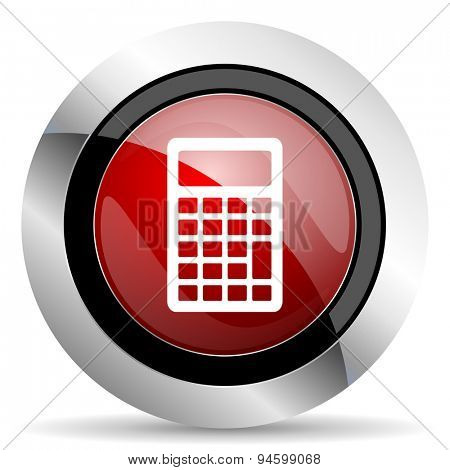calculator red glossy web icon original modern design for web and mobile app on white background
