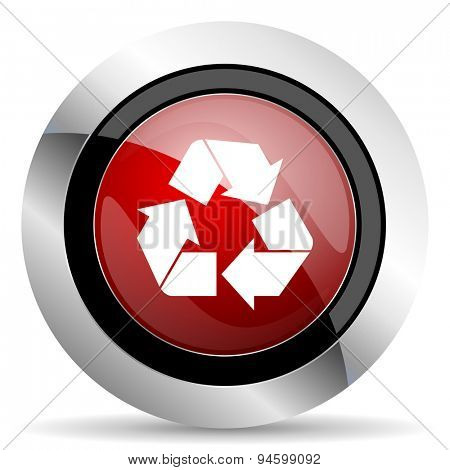 recycle red glossy web icon original modern design for web and mobile app on white background