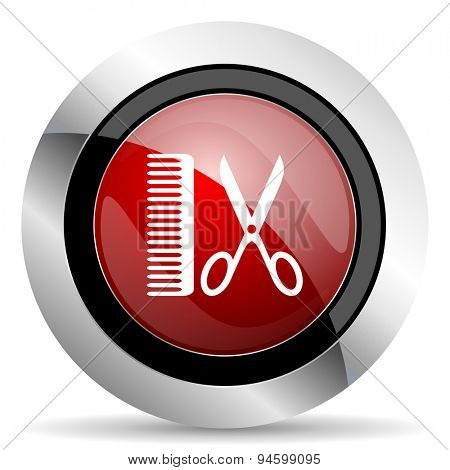 barber red glossy web icon original modern design for web and mobile app on white background