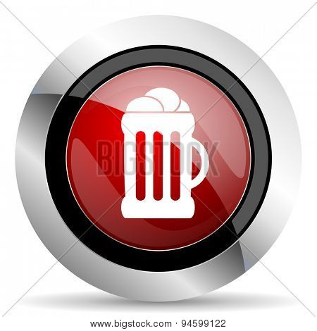 beer red glossy web icon original modern design for web and mobile app on white background