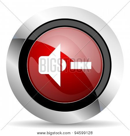 speaker volume red glossy web icon original modern design for web and mobile app on white background