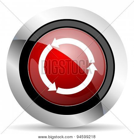 refresh red glossy web icon original modern design for web and mobile app on white background