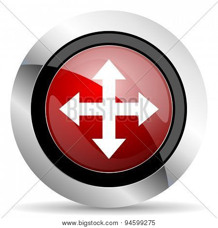 arrow red glossy web icon original modern design for web and mobile app on white background