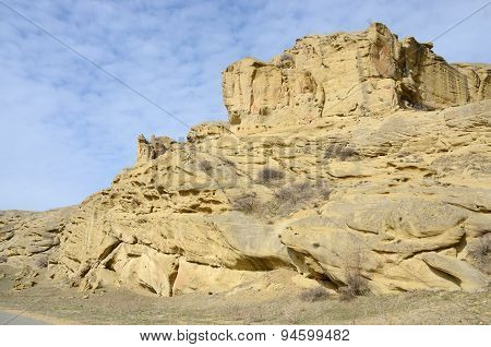 Rock Formations Along The Highway Leading To Uplistsikhe Cave Town,Armenia