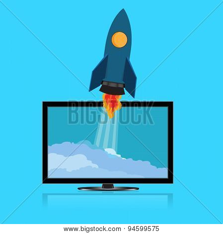 Start, up, rocket, monitor