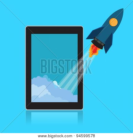 Start, up, rocket, tablet
