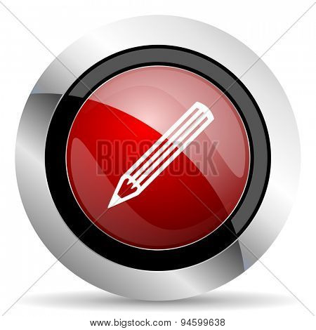 pencil red glossy web icon original modern design for web and mobile app on white background
