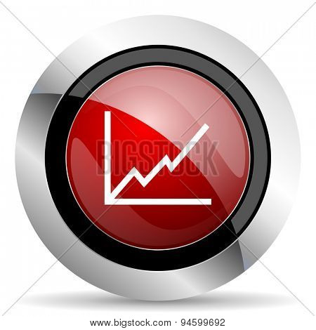 chart red glossy web icon original modern design for web and mobile app on white background