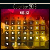 foto of august calendar  - Geometrical polygonal triangles 2016 calendar design for august month - JPG